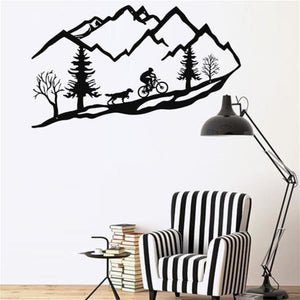 Antdecor METAL WALL ART MOUNTAIN BIKE TREES DOG METAL WALL DECOR