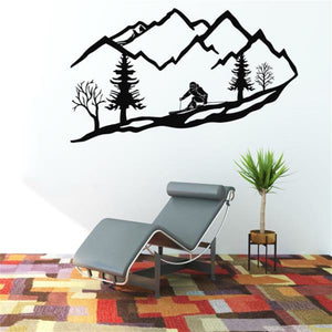 Antdecor METAL WALL ART, SKIER MOUNTAIN TREES DECOR, Metal Wall Decor
