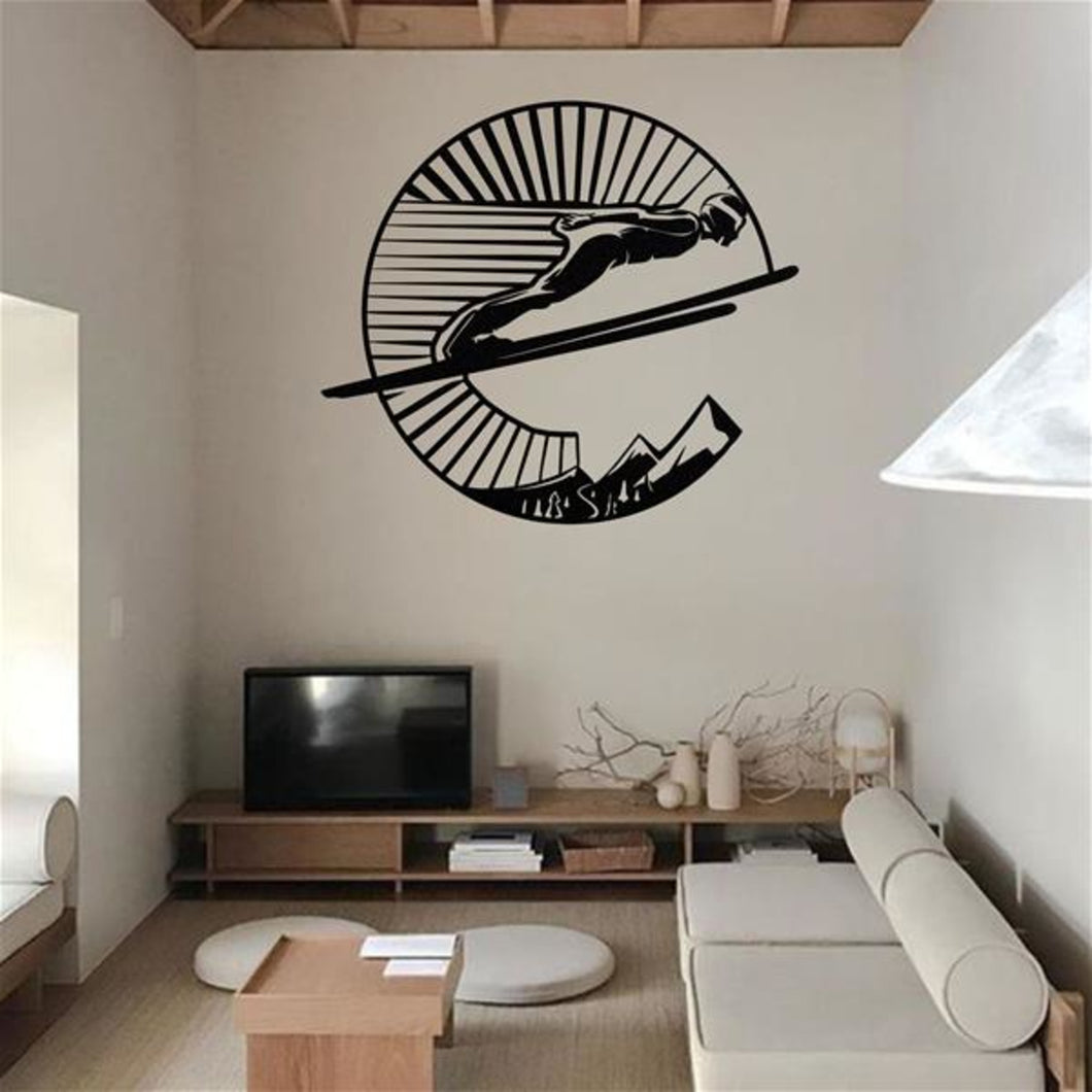 Antdecor METAL WALL ART, SKI JUMPER,METAL WALL DECOR, MOUNTAIN ART, SKI, SKIER GIFT