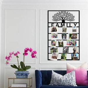 Antdecor PERSONALIZED METAL FAMILY TREE PANEL FOR PHOTO DISPLAY