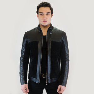 Natur Men's Leather Jacket Casual Fashion Stand Collar Motorcycle Jacket Men Slim Style Quality Leather Genuine Lambskin