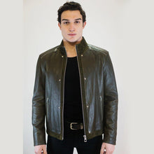 Load image into Gallery viewer, Drake Men's Leather Jacket Casual Fashion Stand Collar Motorcycle Jacket Men Slim Style Quality Leather Genuine Lambskin