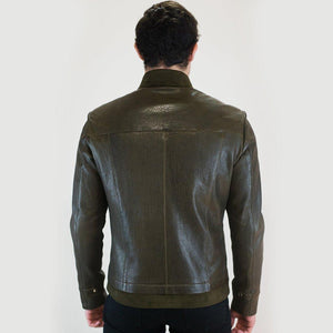 Drake Men's Leather Jacket Casual Fashion Stand Collar Motorcycle Jacket Men Slim Style Quality Leather Genuine Lambskin