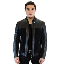 Load image into Gallery viewer, Natur Men's Leather Jacket Casual Fashion Stand Collar Motorcycle Jacket Men Slim Style Quality Leather Genuine Lambskin