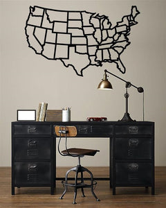 Antdecor Metal Wall Art, States of America Map,Steel Art 76x47 cm