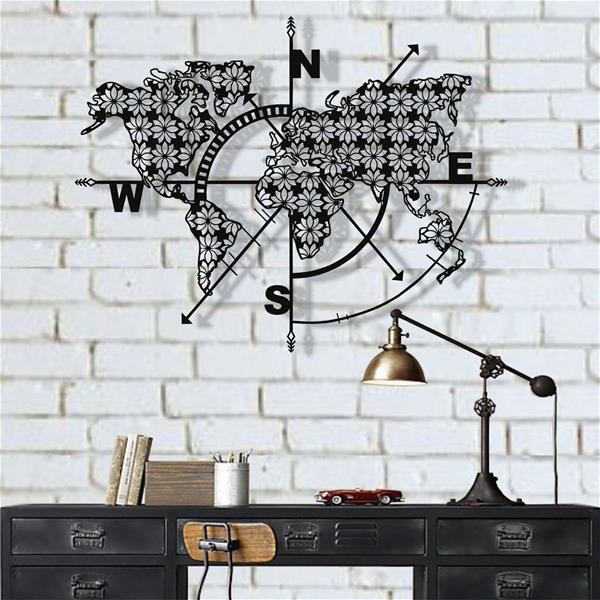 Antdecor Metal World Map Wall Art Compass Flowers 101x76 cm