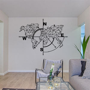 Antdecor Metal World Map Wall Art Geometric Compass 98x75cm