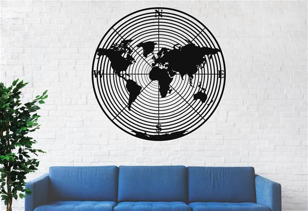 Antdecor Metal World Map Wall Art World Map Continents Round 60x60 cm