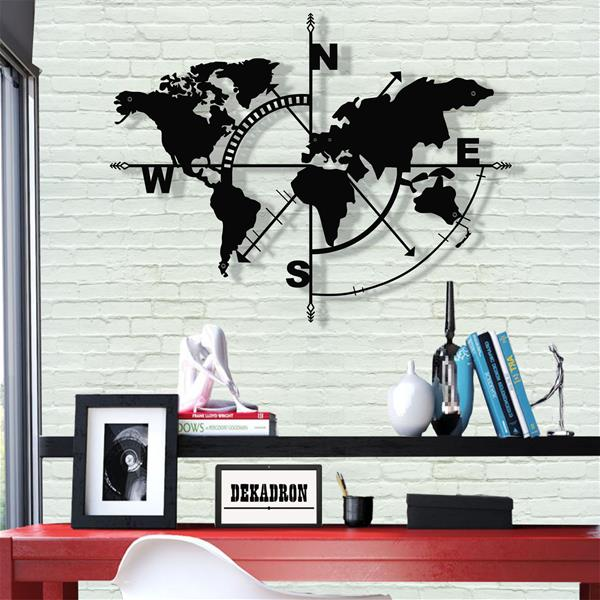 Antdecor Metal World Map Compass,Metal Wall Decor,Art Work 98x75 cm