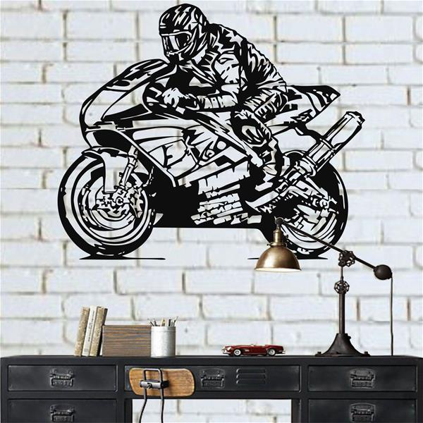 Antdecor Racer Metal Wall Decor,Racer Metal Wall Art 60x50 cm