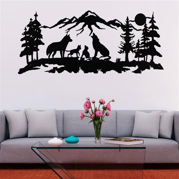 Antdecor Metal Wolf Art, Wolves Family, Nature Wall Art 75x33 cm