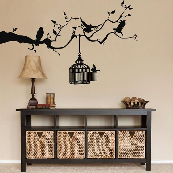 Antdecor Metal Wall Art, Metal Birds and Cage Art 75x46 cm