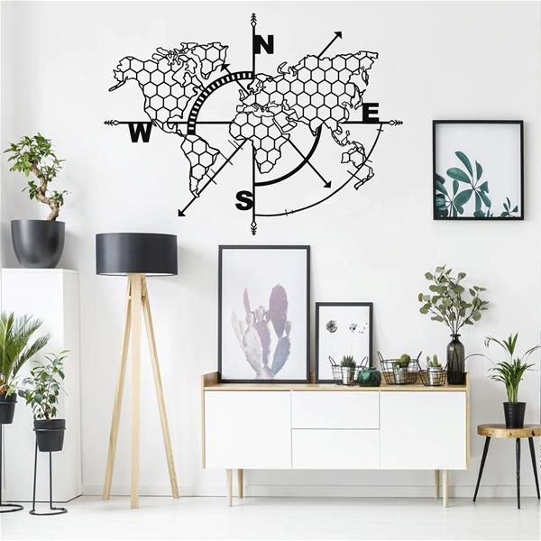 Antdecor Metal World MapWall Art Honeycomb Compass 98x75 cm