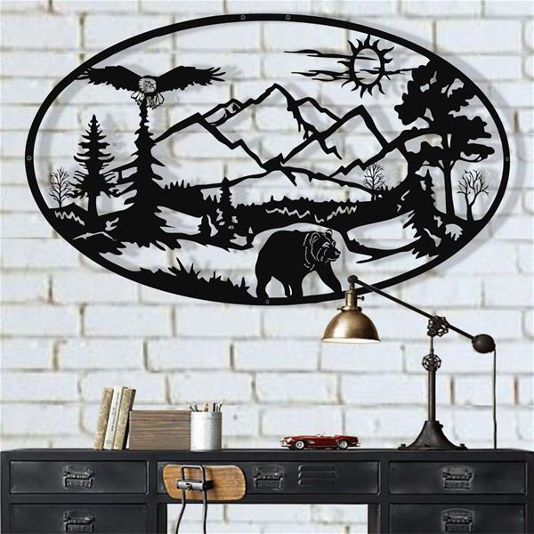 Antdecor Metal Forest Wall Art, Metal Bear Art 60x36 cm