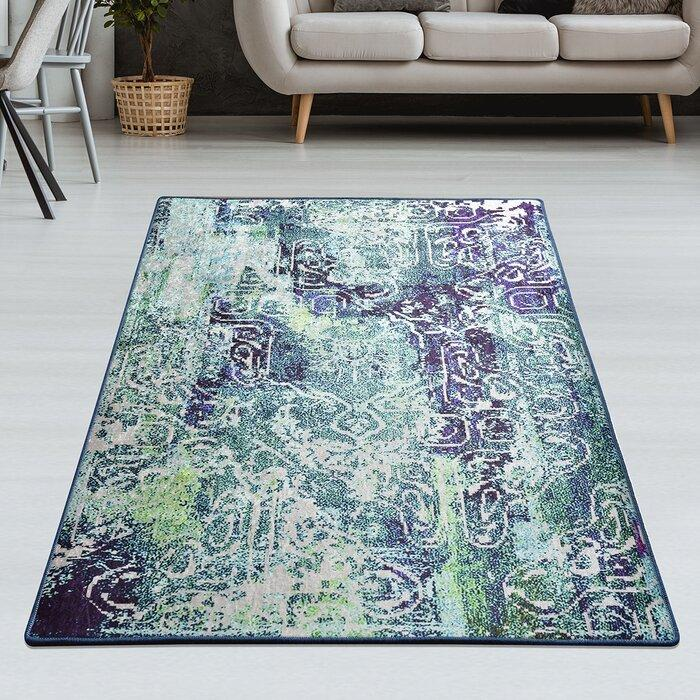 Williston Forge Lavine Green/Purple Rug 120x180cm
