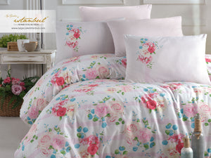Etgbuy Ranforce Rosie Bedding Linens Set Twin 4 Pcs Cotton Duvet Set
