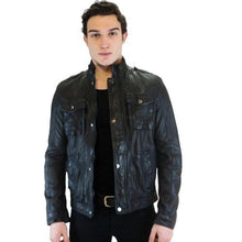 Load image into Gallery viewer, Sopy Men's Leather Jacket Casual Fashion Stand Collar Motorcycle Jacket Men Slim Style Quality Leather Genuine Lambskin