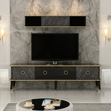 Load image into Gallery viewer, Homelante Bien Modern Marble Pattern Tv Unit - Glossy Black / Royal Marble