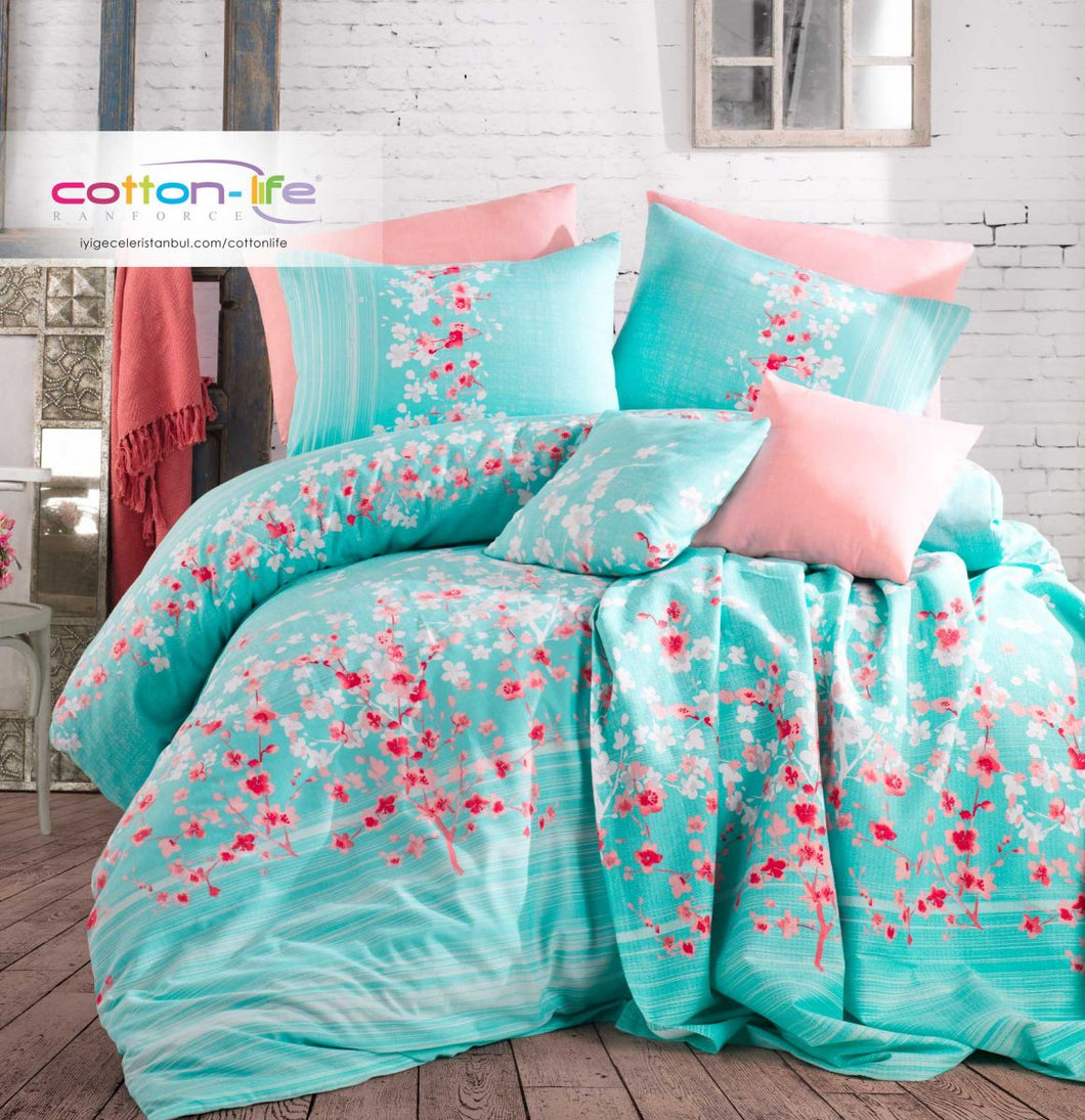Etgbuy Ranforce Sakura Mint Pattern Bedding Linens Set Twin 3 Pcs Cotton Duvet Set
