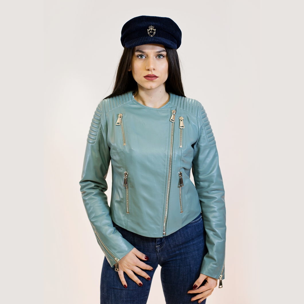 CBE Leather Collection Women Leather Jacket Made in Turkey Azur Mango Women's Leather Jacket 100% Genuine Leather