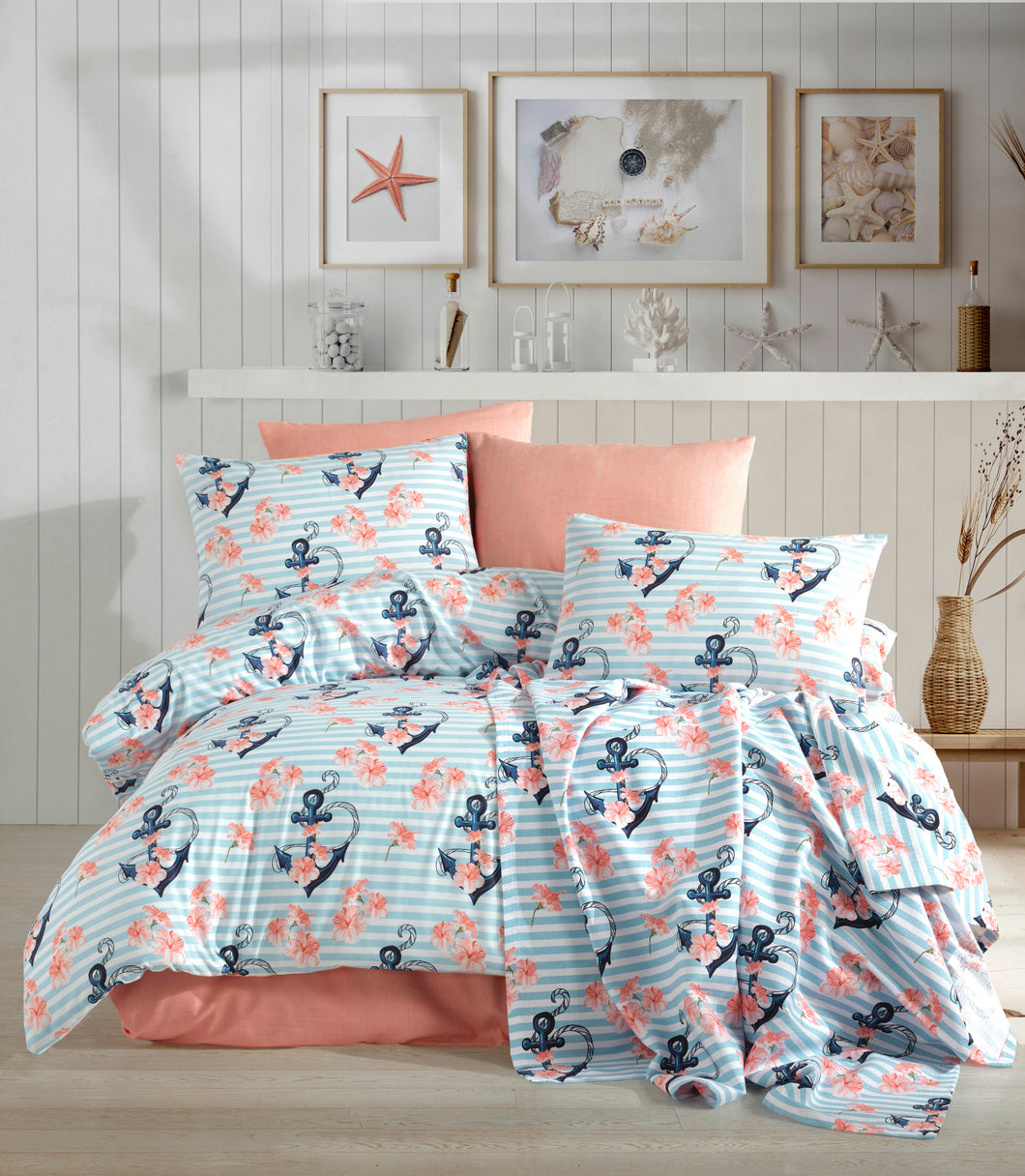 Etgbuy Ranforce Anchor Mint Pattern Bedding Linens Set Twin 3 Pcs Cotton Duvet Set