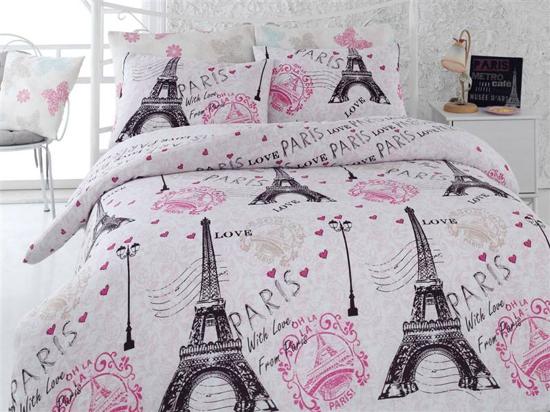 Turkish Cotton 4Pcs!! From Paris Eiffel Tower Theme Queen Double Size Duvet Quilt Cover Set Bedding Linens Made in Turkey