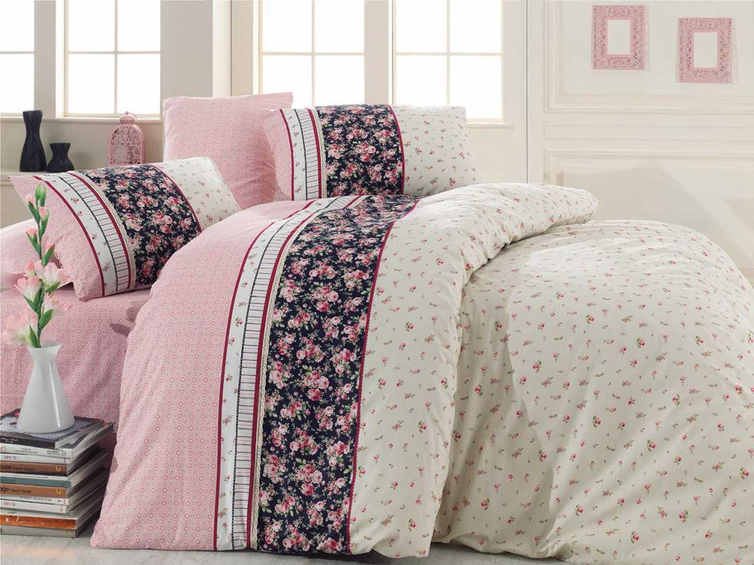 Etgbuy Kopanaki Gloria Pink Bedding Linens Set Twin 3 Pcs Cotton Duvet Set