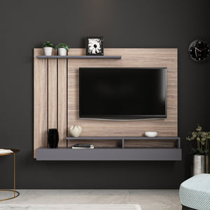 Homelante Lawrance Modern Tv Unit With Shelves - Kaman / Anthracite