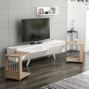 Homelante Leron Zigon Tv Unit - White / Kaman / Walnut
