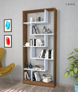 Homelante Riga Bookcase - Bookcase with 5 Shelves - White / Istanbul