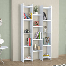 Load image into Gallery viewer, Homelante Teo Rio Bookcase - Decorative Bookcase with 4 Shelves - White