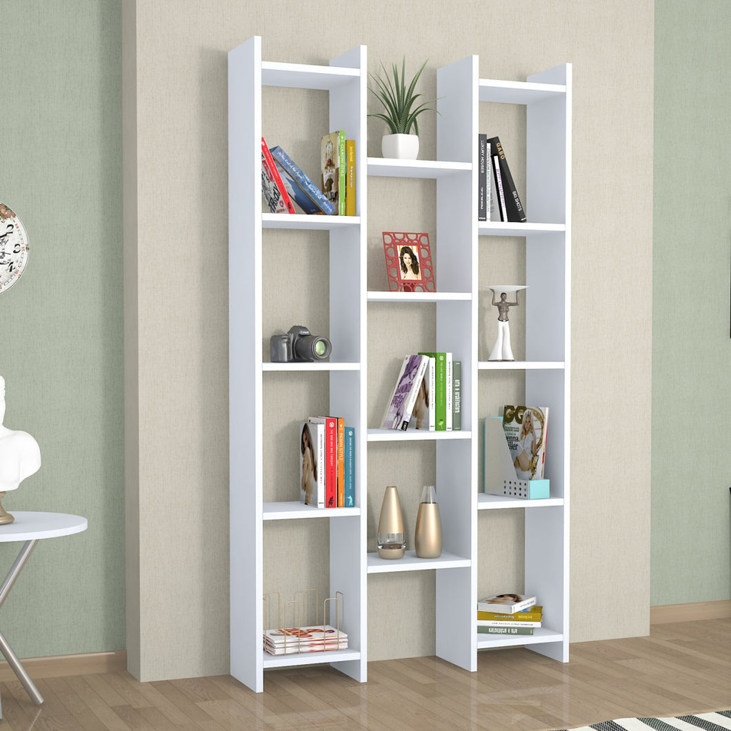 Homelante Teo Rio Bookcase - Decorative Bookcase with 4 Shelves - White