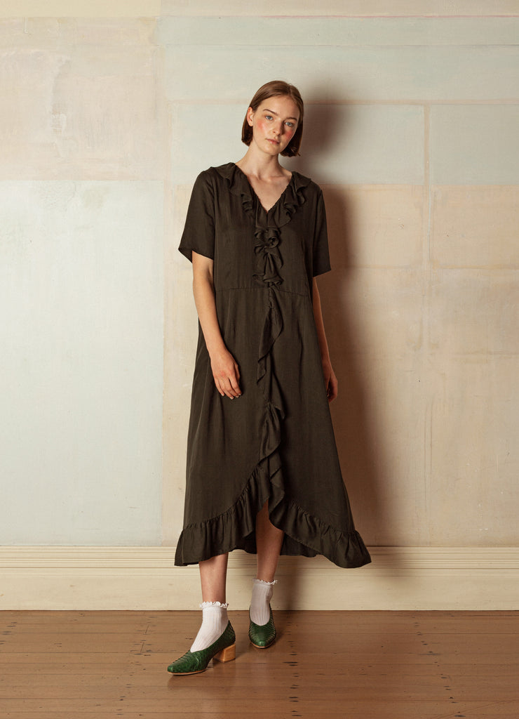 Reversible Dress No. 1 — Olive Tencel
