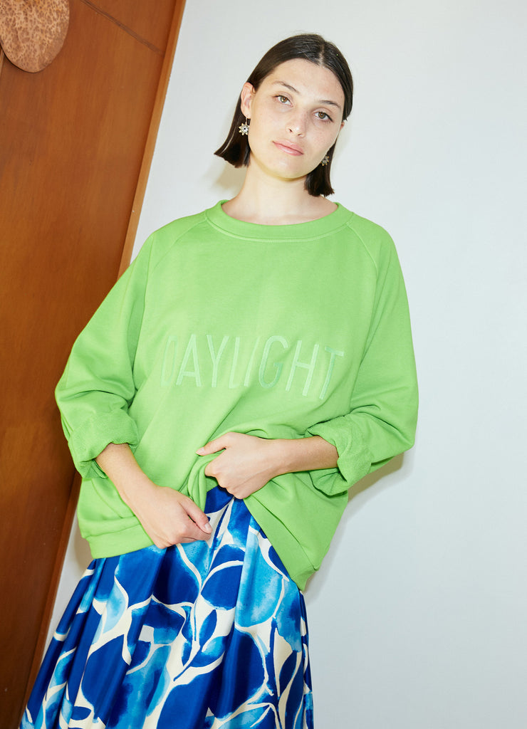 Daylight Moon Embroidered Sweat - Fluro Green