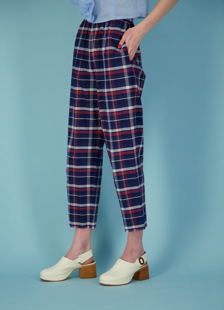 Happy Day Pant - Navy & Red Cotton Check