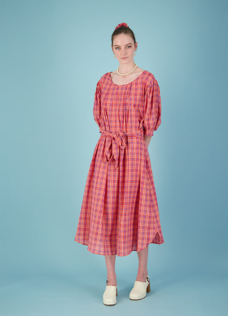 See For Yourself Dress - Red Cotton Check