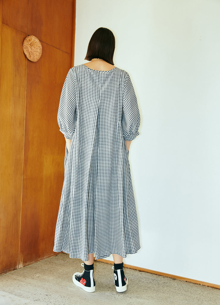 Happy All Day Dress - Navy & White Gingham