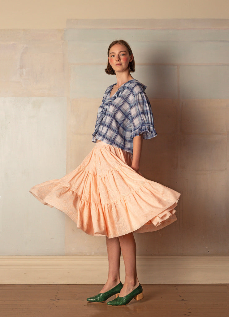 Sanguine Skirt - Peach Cotton Broderie