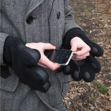 adult black fleece mittens