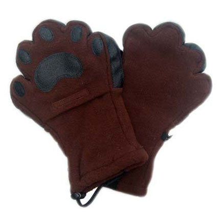 adult brown fleece mittens