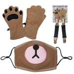 Bear Mask & Toddler Camel mittens with mitten clips