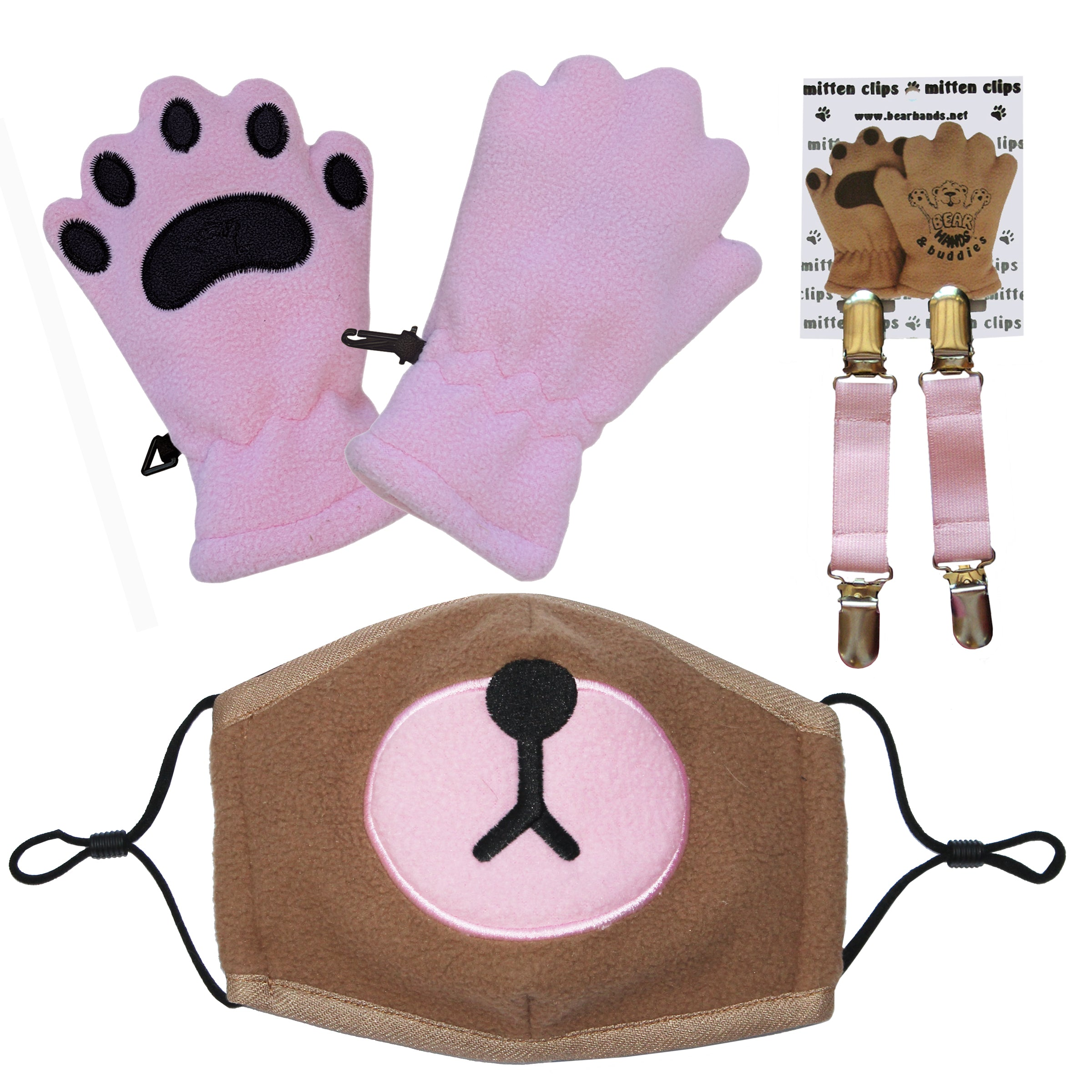 Bear Mask & Toddler Light Pink mittens with mitten clips