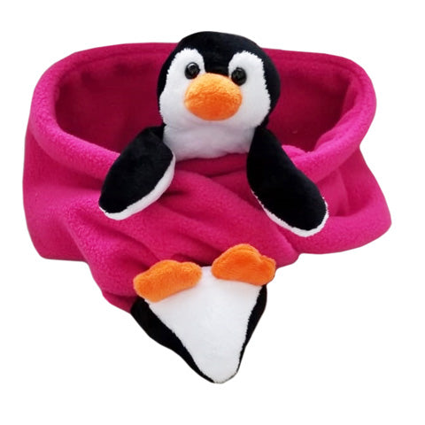 Penguin Patty on Fuchsia Fleece Buddy Scarf
