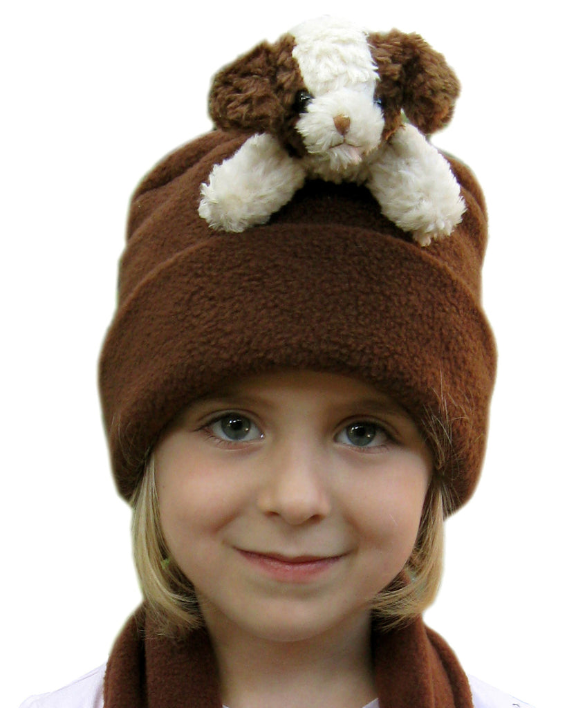 Brown & Cream Dog on Brown Fleece Buddy Hat