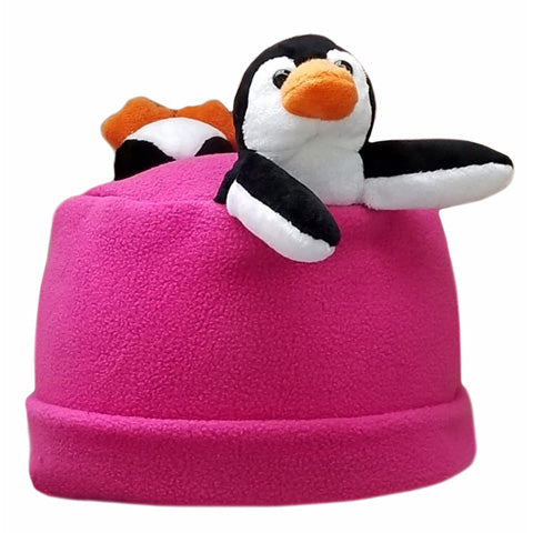 Penguin Patty on Fuchsia Fleece Buddy Hat