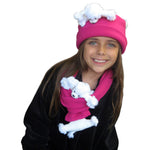 White Poodle on Fuchsia Fleece Buddy Hat & Scarf