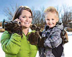Youth Brown Faux Fur Mittens