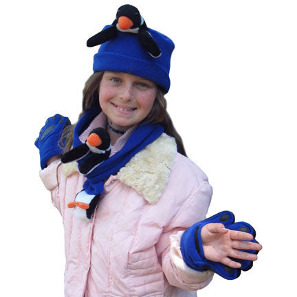 Penguin on Cobalt Blue Fleece Buddy Hat, Scarf & Mittens