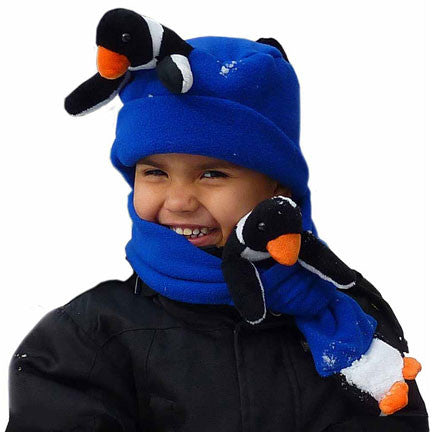 Penguin on Cobalt Blue Fleece Buddy Hat & Scarf