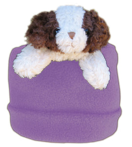 Brown & Cream Dog on Purple Fleece Buddy Hat